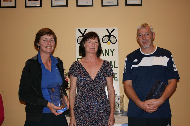 ATC Delany Perpetual Challenge Cup 2011 - B section Winners: Joan McDonald/Hyland (Athy), Caitriona Ni Fhlaithearta (president), John Goff (Rathangan)
