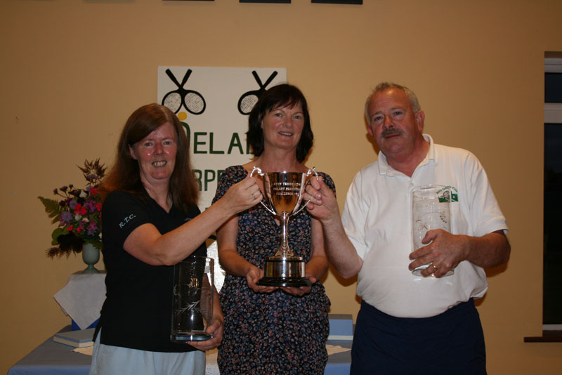ATC Delany Perpetual Challenge Cup 2011 - C section Winners & winners of the Delany Cup, Ronnie Heffernan (Rathangan), Caitriona Ni Fhlaithearta (president), Peter McDermott (Athy)