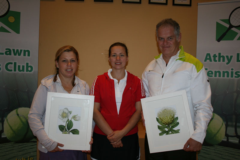 ATC Delany Perpetual Challenge Cup 2012 - B section Winners: - Helen Charlton (Carlow), Tetyana Shumska (club captain), Erney Breytenbach (Athy)