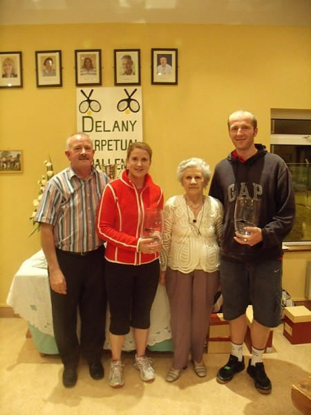 Delany Cup 2010 Winners Group C- Peter McDermott (ATC president), Suzy Kavanagh (Portlaoise TC), P.R.O. Peggy Delany, Sergiy Ksenych (Athy TC)
