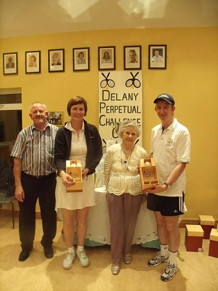 Delany Cup 2010 Runners Up Group B- Peter McDermott (ATC president), Joan McDonald Hyland (Athy TC), P.R.O. Peggy Delany, John Lynch (Birr)