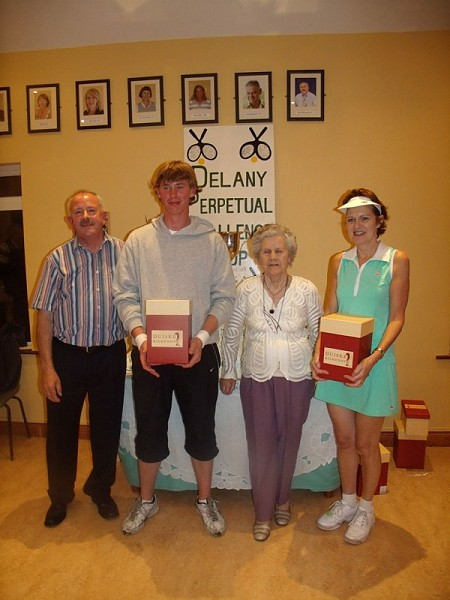 Delany Cup 2010 Winners Group B- Peter McDermott (ATC president), James Ashmore (Athy TC), P.R.O. Peggy Delany, Deirdre O'Connor (Athy TC)