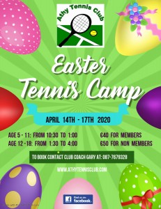 Easter Tennis Camp email